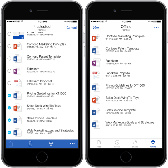 OneDrive for iOS offline storage