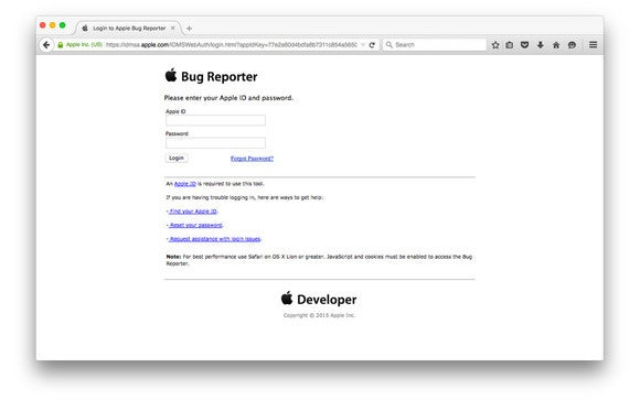apple bug reporter website