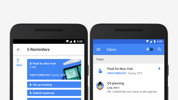 Google Calendar and Google Inbox reminders