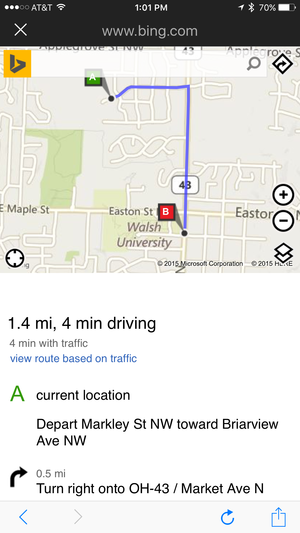 cortana bing directions