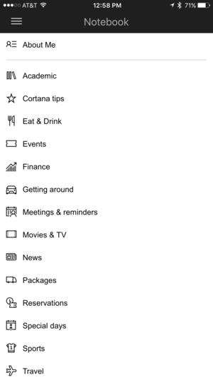 cortana notebook categories