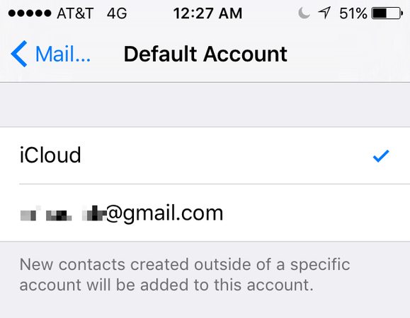 default account ios contacts