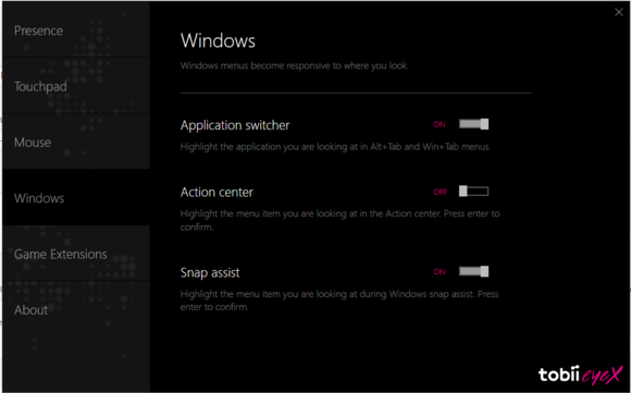 eyex new windows functions