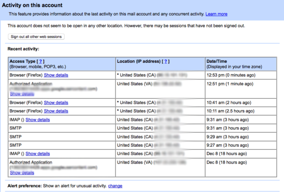 gmail activity log