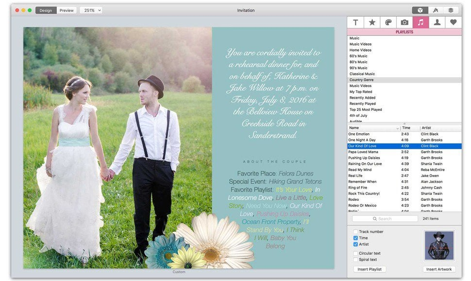 Greeting card shop 3 review mac design software bulks up on new greeting card shop 3 also hooks into your itunes playlists for song titles and album artwork m4hsunfo