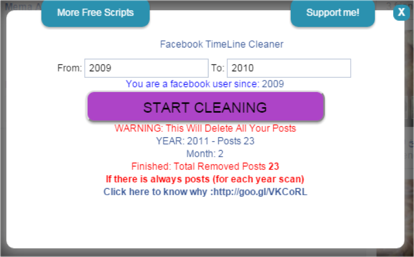 New years resolution how to delete all of your facebook posts this extension has a lot of work to do so be patient the script is looking up each post and deleting them in the way a user would a thousand posts per ccuart Image collections