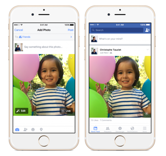 live photos facebook ios app