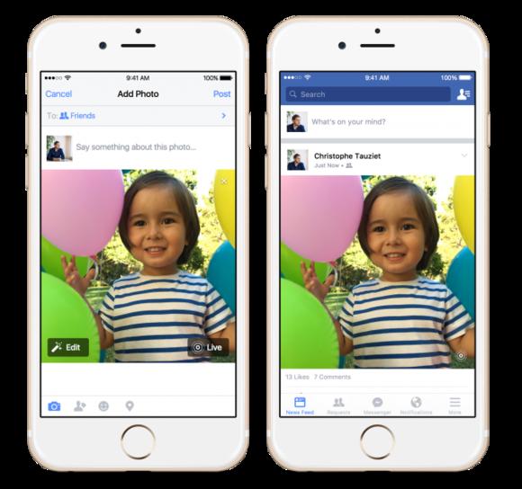 live photos facebook ios app