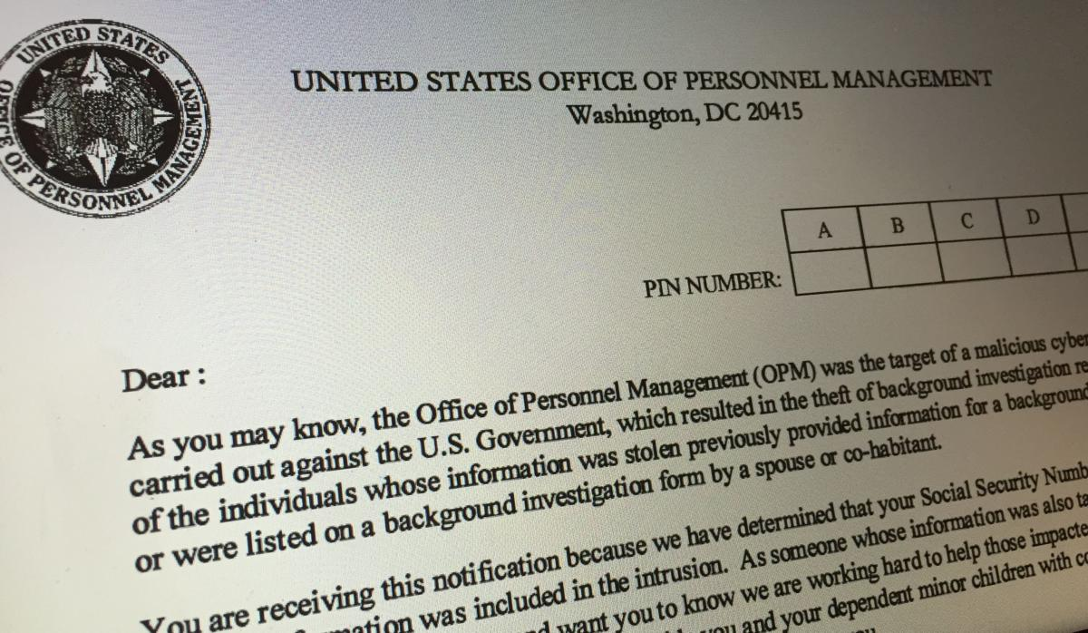 One of the Office of Personnel Management letters sent to victims of its giant 2015 hack.