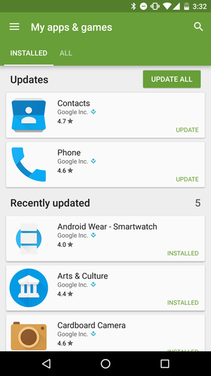 phone contacts update