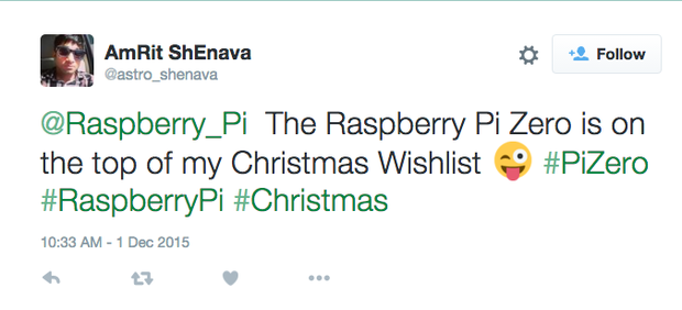 raspberry pi zero tweet