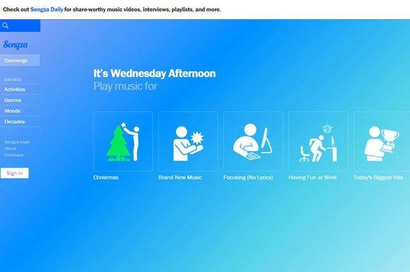 Songza user interface