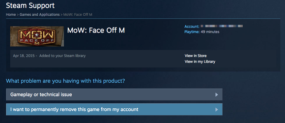 Delete games from your steam account