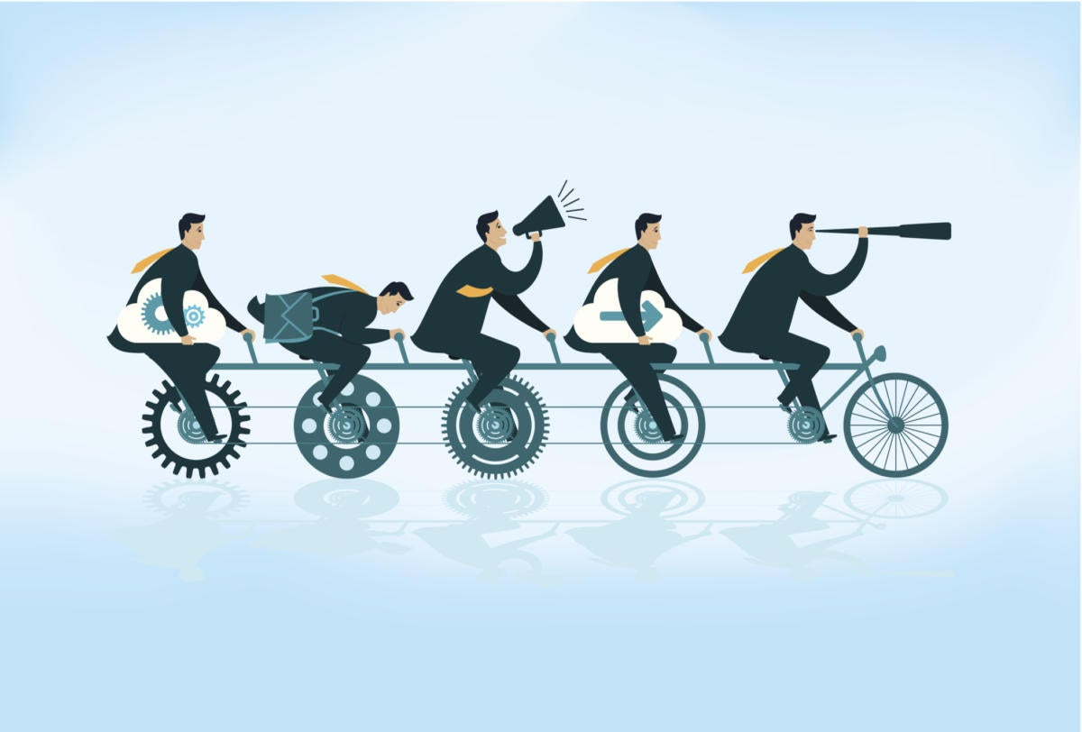 Illustration of five business people riding a bicycle