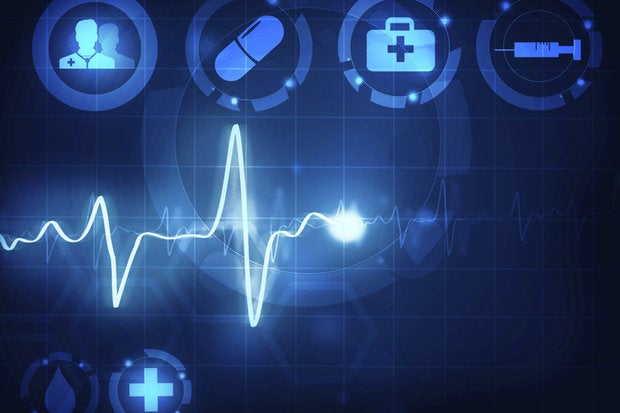 Blue abstract medical heart monitor and medical icons
