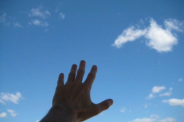 reach out sky cloud hand