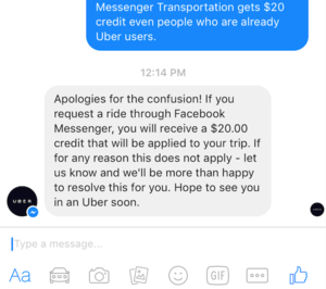 uber facebook messenger