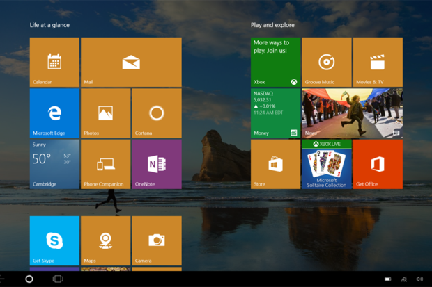 Windows 10 tablet mode Start screen