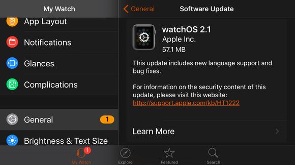 watchos 2.1 update