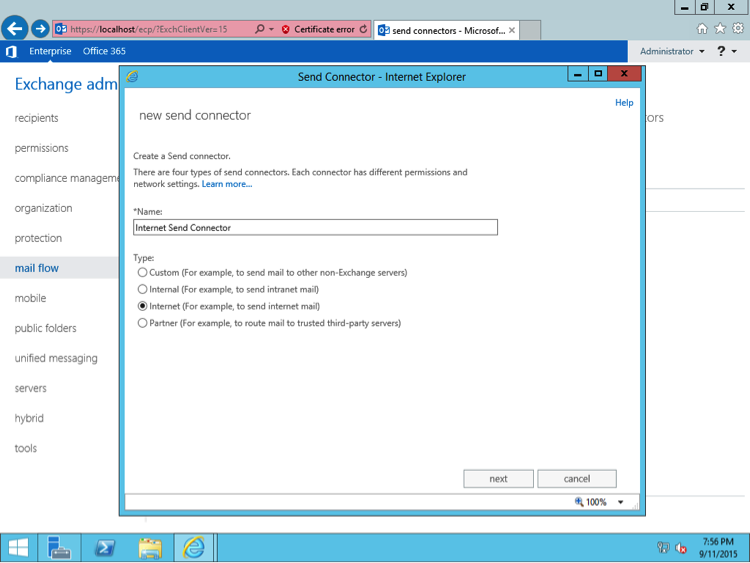 To create a send connector open eac exchange admin center and