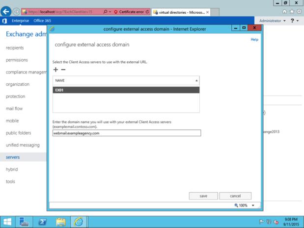 Exchange Settings: Configure external access domain