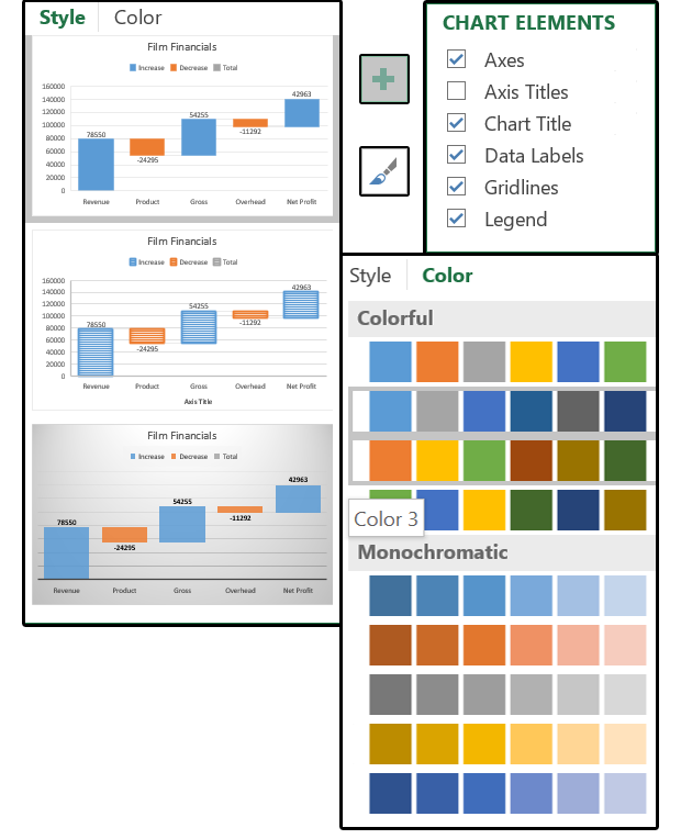 Excel 2016 charts how to use the new pareto histogram and waterfall shows value trends ccuart Images