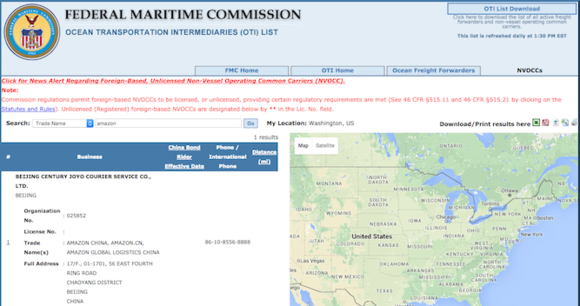 Amazon listing on Federal Maritime Commission directory
