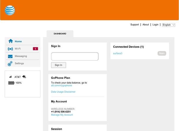 AT&T Unite Express hotspot Web screen