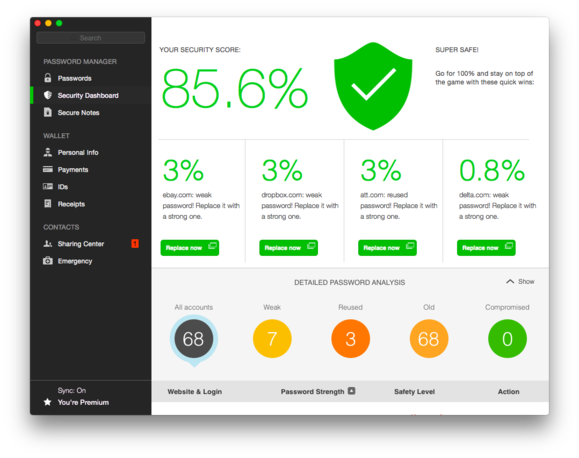 dashlane 4 security dashboard