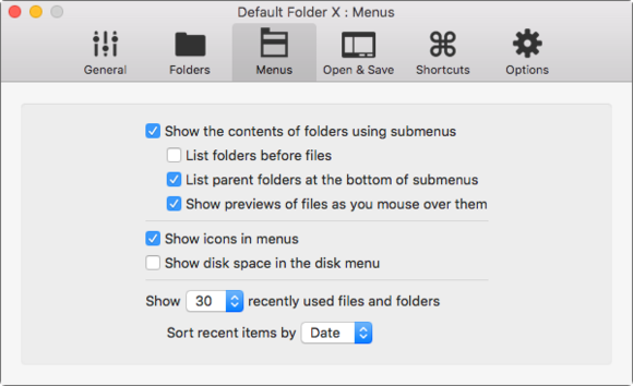 default folder 5 menus prefs
