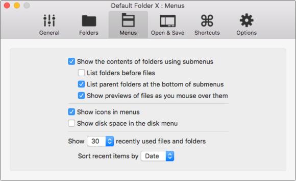default folder 5 menus prefs