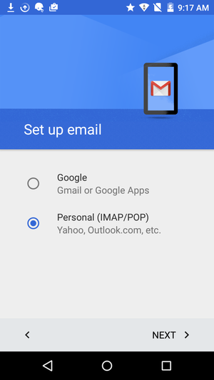 gmail for android add email