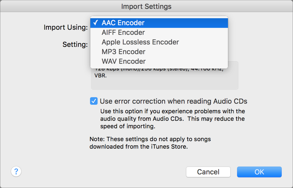 ITunes Can Rip Or Import Audio Files In These Formats Choose The One You Want To Use Preferences General Settings