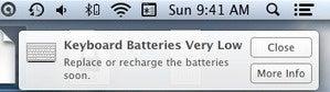 mac 911 mouse batteries low