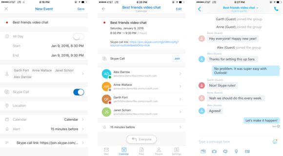 Skype and Outlook for iOS meeting integration