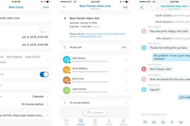 Outlook for iOS and Android gets Skype call scheduling