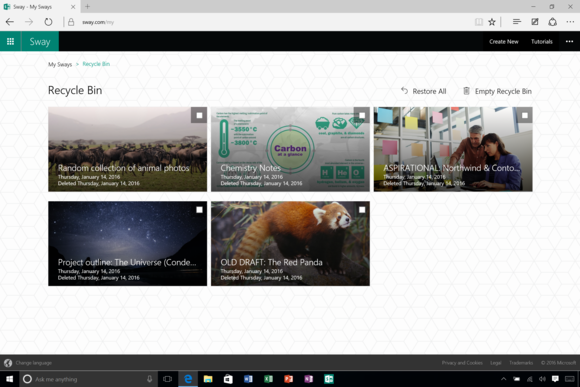 Microsoft's Sway app will now save your hard work from deletion
