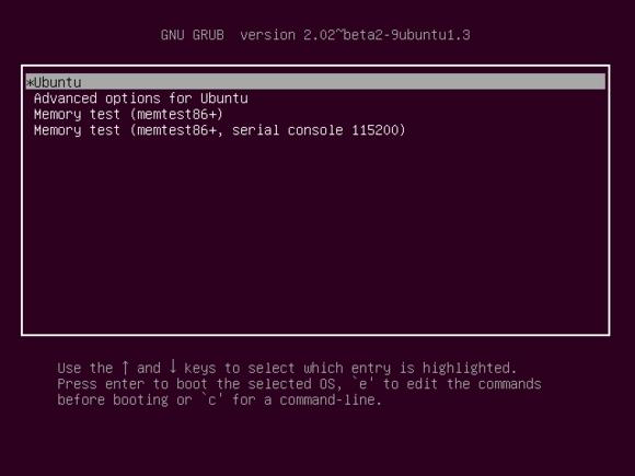 Ubuntu's Grub bootloader menu