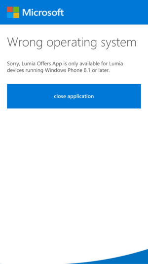 Lumia 950 offers error message