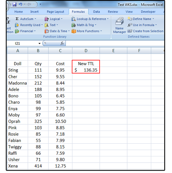 11 enter new data the dynamic totals change