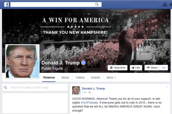 2016 presidential election sites facebook
