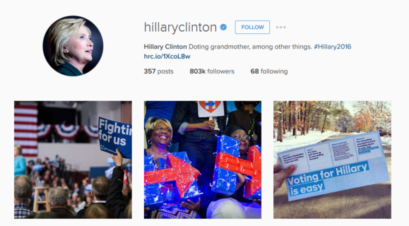 2016 presidential election sites instagram