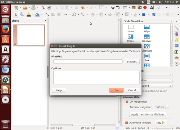 Insert Plug-in Dialog in LibreOffice Impress