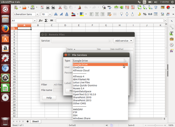 The File Services dialog in LibreOffice Calc