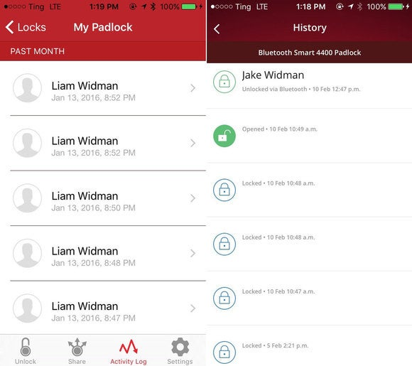 LockSmart activity history
