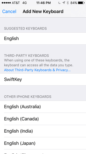 add new keyboard settings