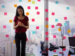 business woman organization sticky notes