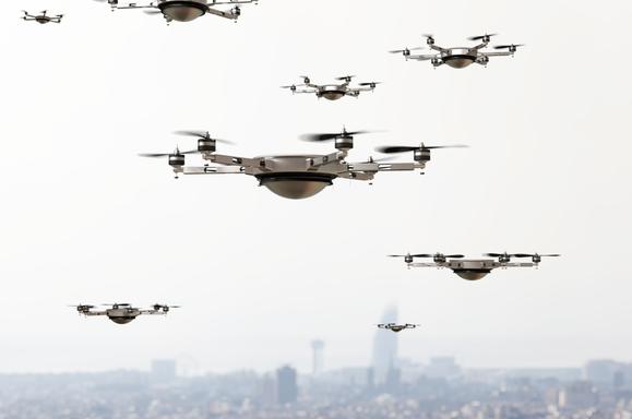 mwc intel brian krzanich 5g drone stock image