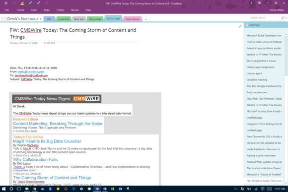 onenote email