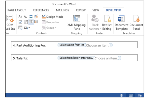 how to add a drop down list in word 2016